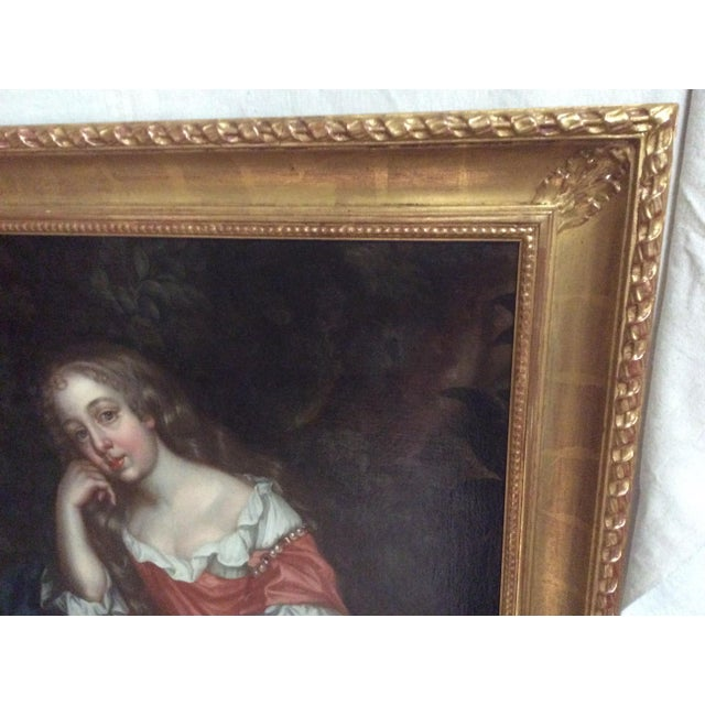 Portraiture Antique Painting of a Young Woman For Sale - Image 3 of 11