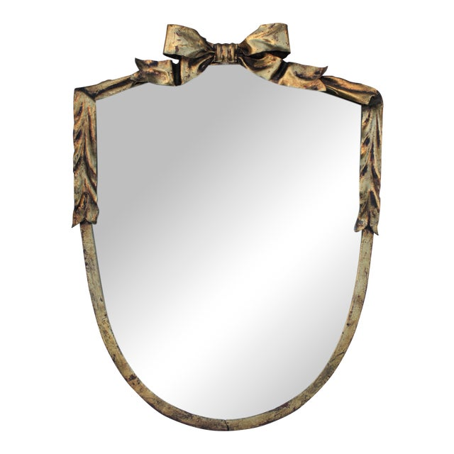 Dorothy Draper Style Gilt Bow & Shield Mirror - Image 1 of 6