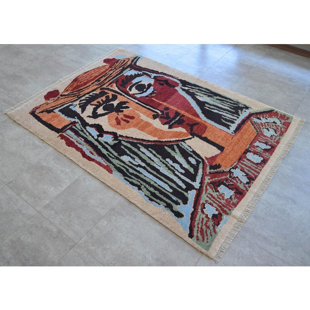 Art Deco Pablo Picasso - Bust of a Woman - Inspired Hand Knotted Area Rug - Wall Rug 4′ × 5′5″ For Sale - Image 3 of 10
