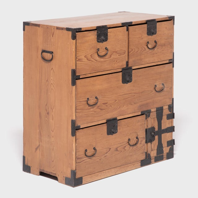 Early 20th Century Japanese Iron Bound Tansu For Sale - Image 4 of 11