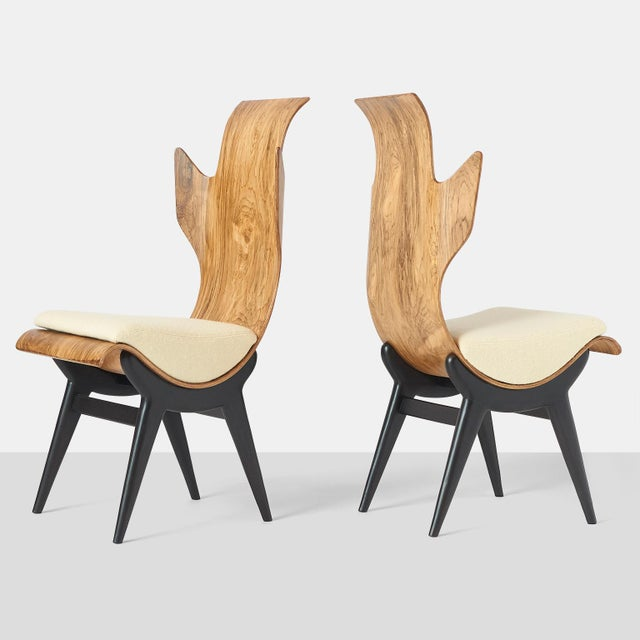 A pair of very rare and sculptural Pozzi & Verga model '2/R' or 'Flame' chairs, designed by Dante LaTorre. The chairs are...