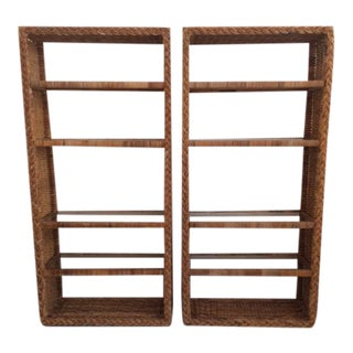1960s Boho Chic Bielecky Brothers Rattan Etageres - a Pair