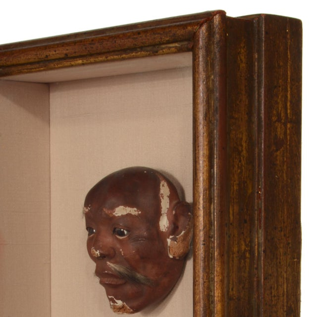 Antique Japanese Noh Mask Collection Framed Shadowbox For Sale - Image 11 of 12