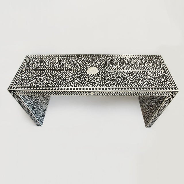 f85d015246c2f Boho Chic Bone Inlay Console Table For Sale - Image 3 of 4