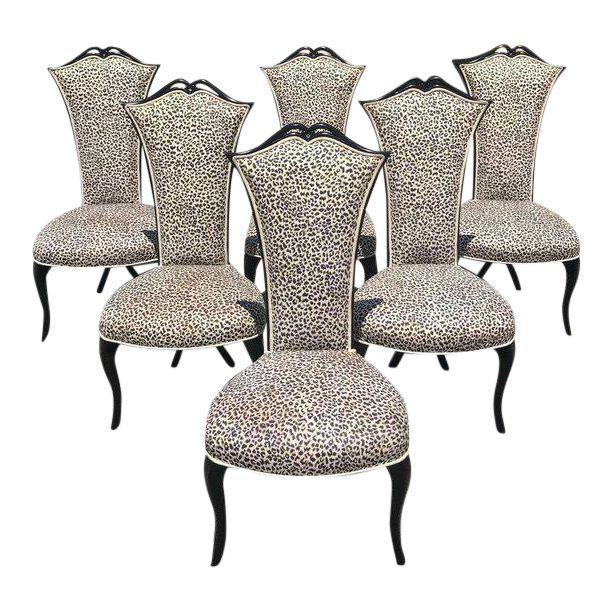 French Mid-Century Modern Ebonized Tall Back Dining Chairs - Set of 6 For Sale - Image 13 of 13
