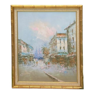 Vintage Original French Paris Cityscape Art Oil Painting in Gold Bamboo Frame For Sale