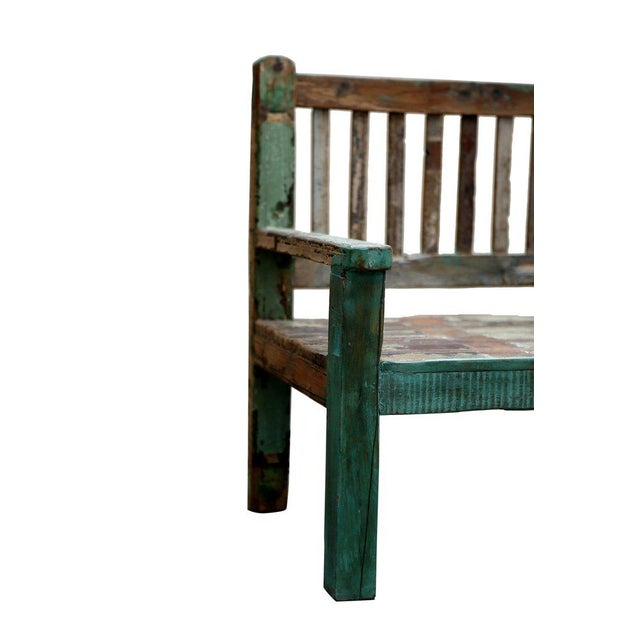 Reclaimed Teak Petite Painted Bench For Sale - Image 5 of 5