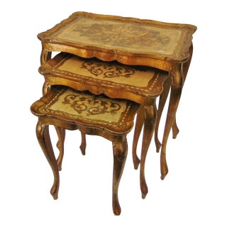 Italian Florentine Nesting Tables - Set of 3 For Sale