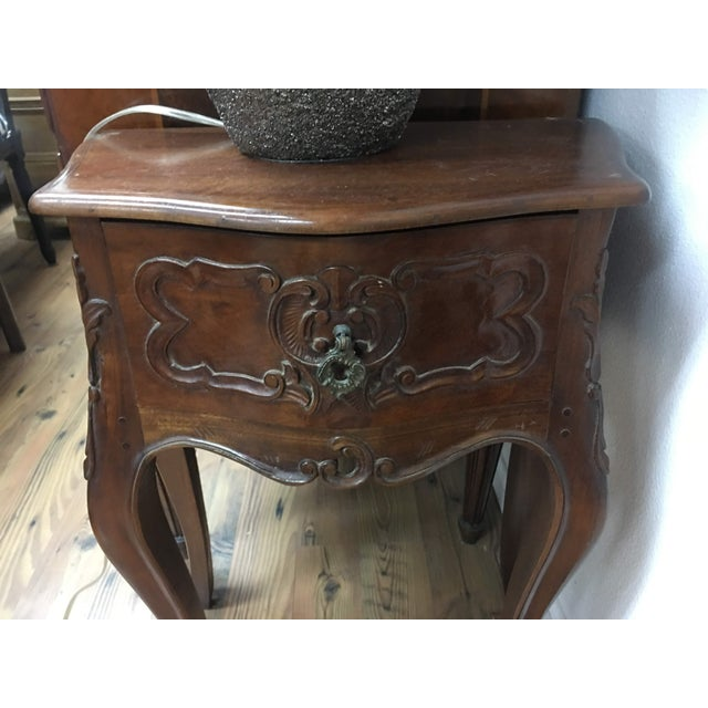 Petite Louis XV Style Carved Cherrywood Bedside Tables - a Pair For Sale - Image 4 of 9