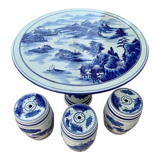 Chinese Porcelain Garden Seats and Table Blue and White Mountain Village Motif - Set of 5 Pieces For Sale