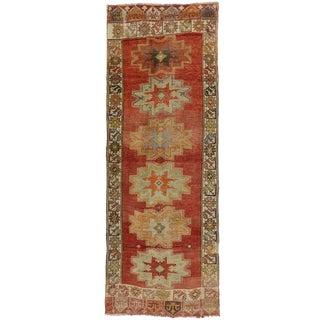 Vintage Turkish Oushak Carpet Runner With Time Softened Colors, Hallway Runner