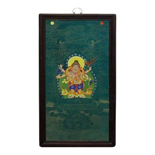 Chinese Porcelain Teal Blue Tibetan Deity Painting Wall Decor For Sale