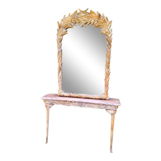 Vintage Serge Roche, Gampel Stoll Style Tropical Palm Frond Mirror and Console Table -A Set For Sale