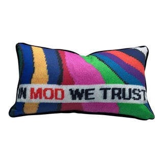 In Mod We Trust Designer Lumbar Feather Down Pillow / Original Textile Art For Sale