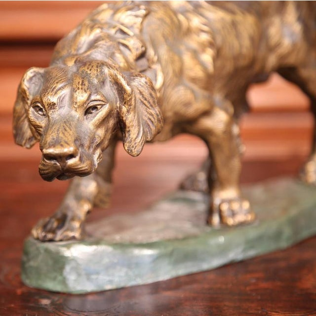 Early 20th Century French Patinated Bronze Hunting Dog Signed T. Cartier - Image 4 of 8