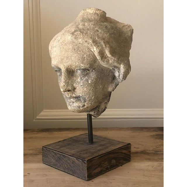 Limestone Roman Bust on Stand For Sale - Image 4 of 4
