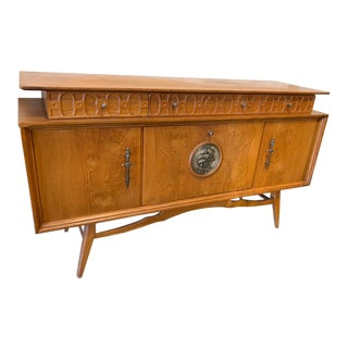 Nautical Motif Mid Century Modern Solid Wood Cocktail Cabinet Sideboard For Sale