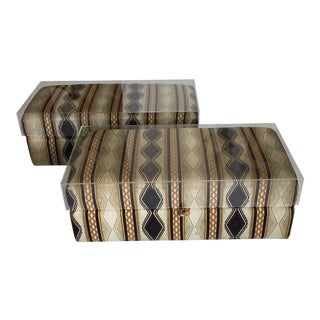 1970s Mid Century Modern Ottomans With Removable Acrylic Tops - a Pair