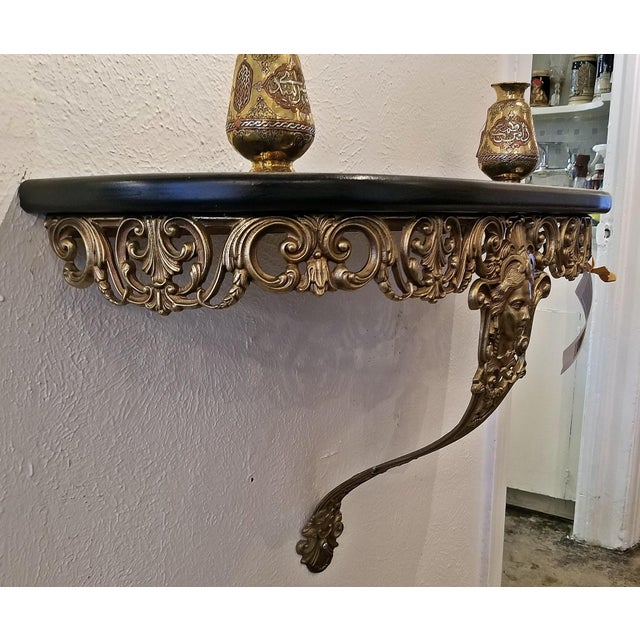 Early 20th Century…….. Art Nouveau style …… Brass Wall Bracket Shelf. Beautiful brass casting with ladies face to the...
