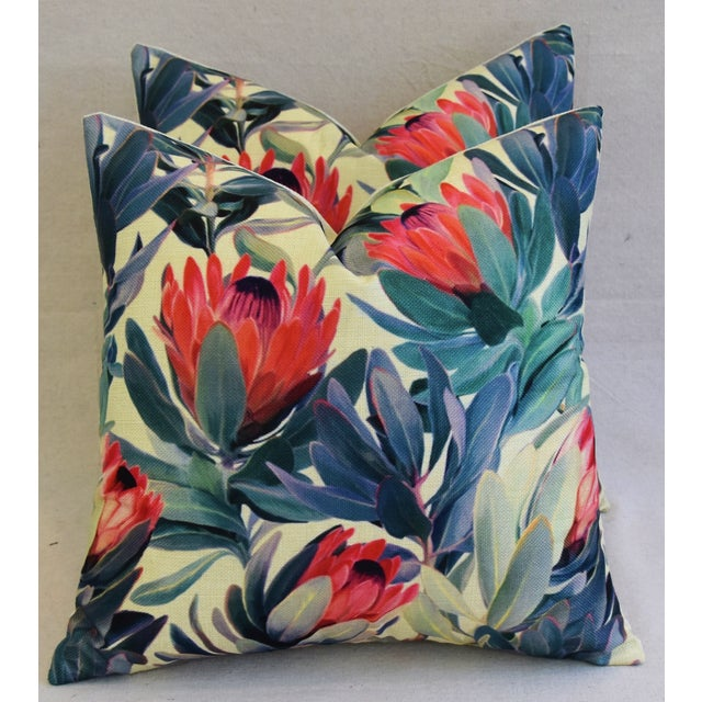 "18"" Colorful Tropical Protea Floral Feather/Down Pillows - a Pair - Image 7 of 11"