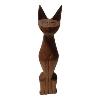 "Mid-Century 20"" Wooden Cat Sculpture For Sale"