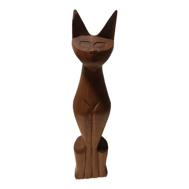"Mid-Century 20"" Wooden Cat Sculpture For Sale"