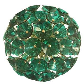 Italian Green Murano Trumpets Gold Sputnik For Sale