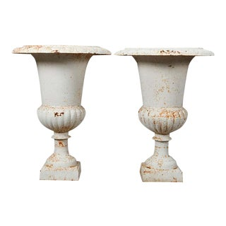 Vintage 20th Century French Classical Painted Cast Iron Garden Urns with Plinths - a Pair For Sale