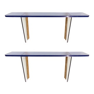 Pair of Blue Glass Wall Consoles - 20th C. For Sale