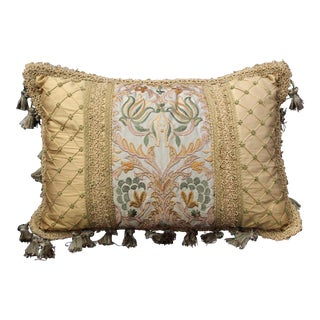 19th Century Italian Chair Cushion With Antique Fabric For Sale