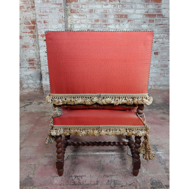 19th Century Baroque Red Upholstered Walnut Hall Chair For Sale In Los Angeles - Image 6 of 8