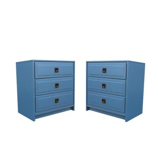 Pair of Campaign Style Nightstands For Sale