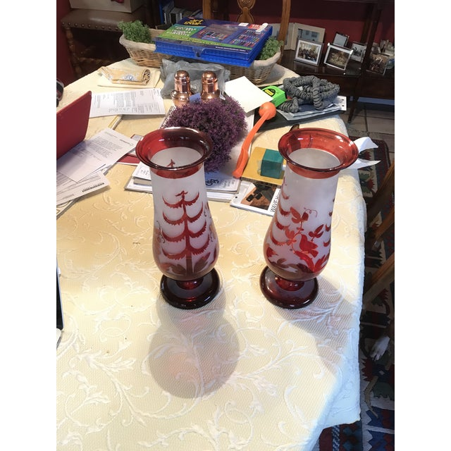 Antique Cranberry Red Hand Blown Glass Vases - A Pair For Sale - Image 4 of 5