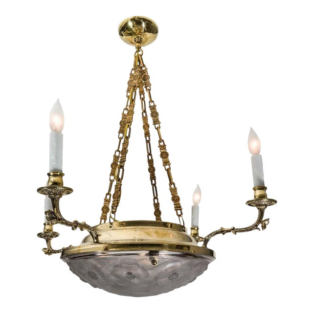 Art Deco Chandelier in Brass and Satin Glass 1920s Lalique Style For Sale