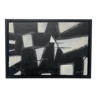 Black and White Abstract Painting Contemporary Art For Sale