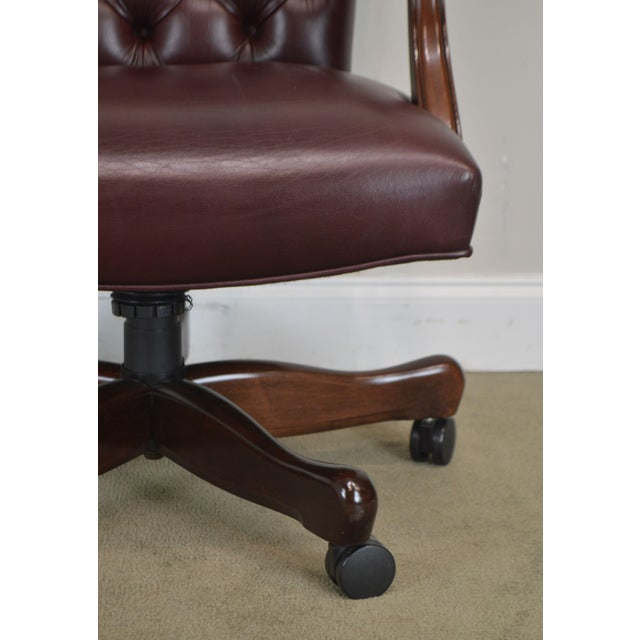 Oxblood Red Leather Tufted Chesterfield Style Executive Office Desk Chair (E) For Sale - Image 11 of 13