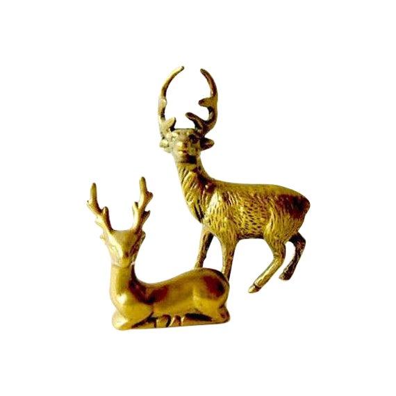Hollywood Regency Brass Reindeer - Pair Deer - Image 1 of 6