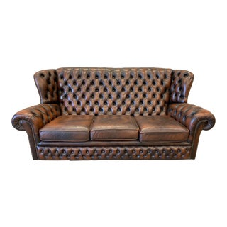 English Chesterfield Leather Sofa For Sale