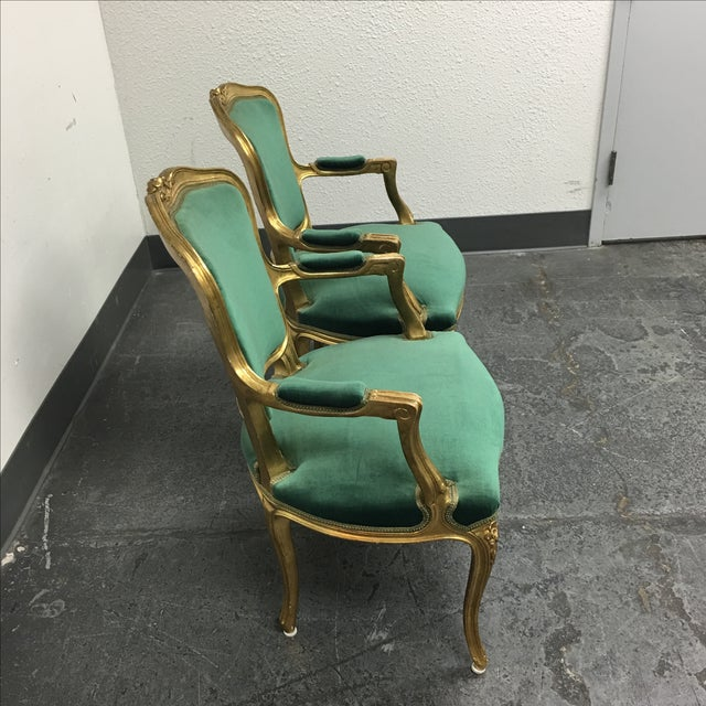 French Vintage Green Louis XV Chairs - Pair For Sale - Image 3 of 7