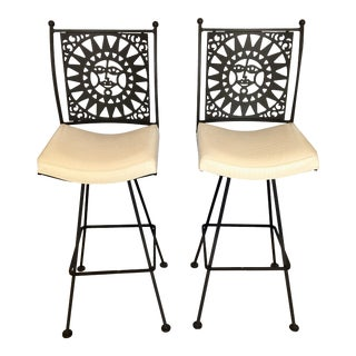 Vintage Mid Century Arthur Umanoff Swivel Bar Stools- A Pair For Sale