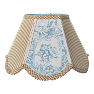 Robins Egg Blue Toile Beige Ticking Clip On Lamp Shade For Sale