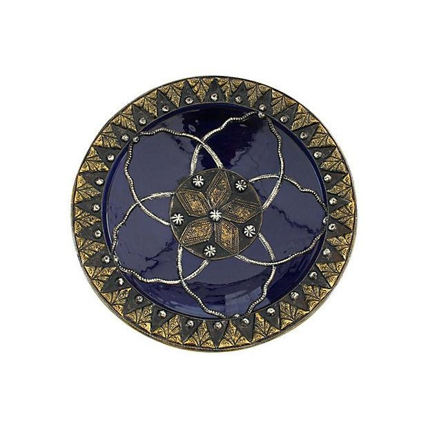 Silver Inlaid Moroccan Wall Plate For Sale
