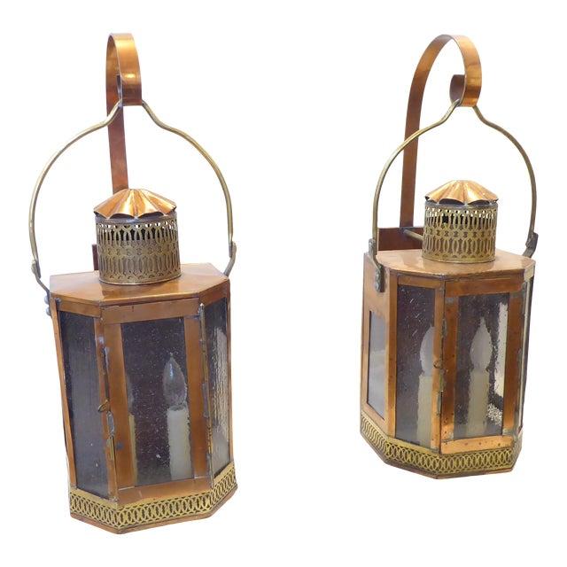 Vintage Copper Lantern Sconces - a Pair For Sale
