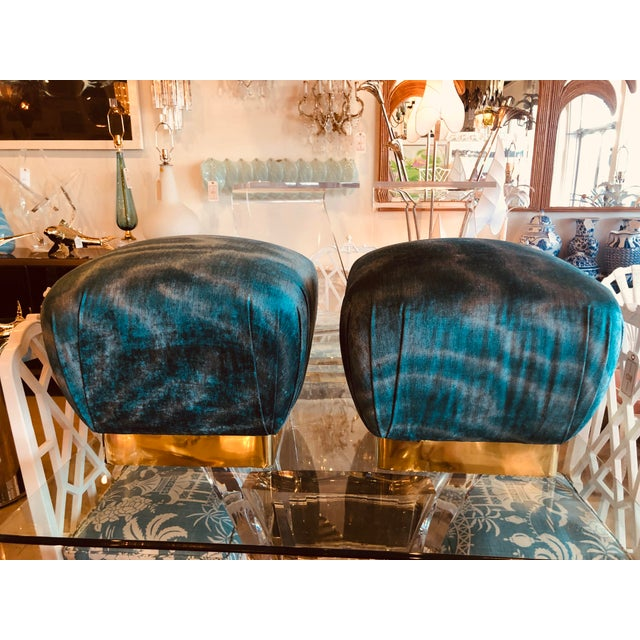 Karl Springer Vintage Hollywood Regency Aqua Velvet & Brass Poufs Ottomans Benches -A Pair For Sale - Image 4 of 13