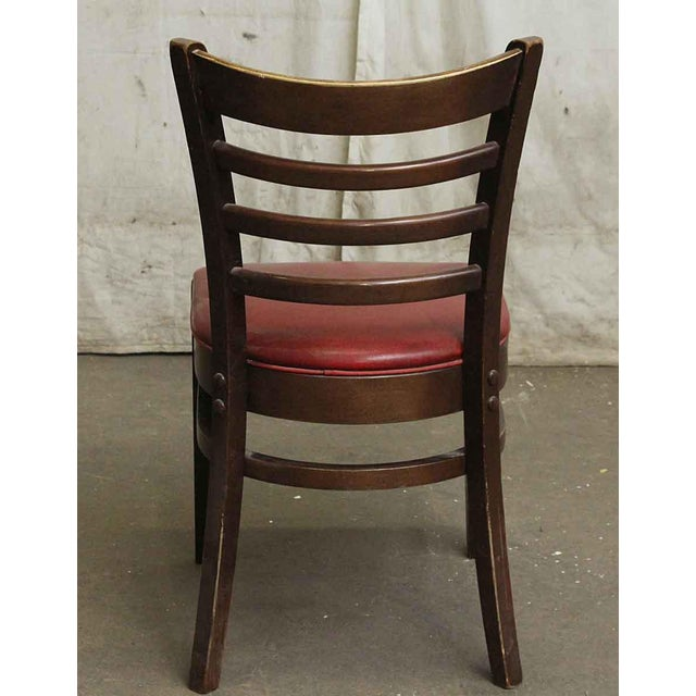 Dark Wood Red Seated Chair - Image 4 of 5