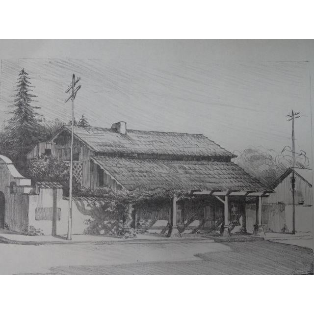 """Frederic Watts """"Old Adobe House With Porch"""" Lithograph - Image 3 of 3"""