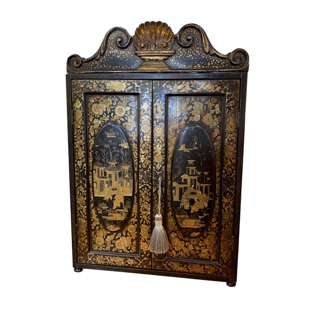 Black 19th Century Black and Gold Chinoiserie Chest For Sale - Image 8 of 8