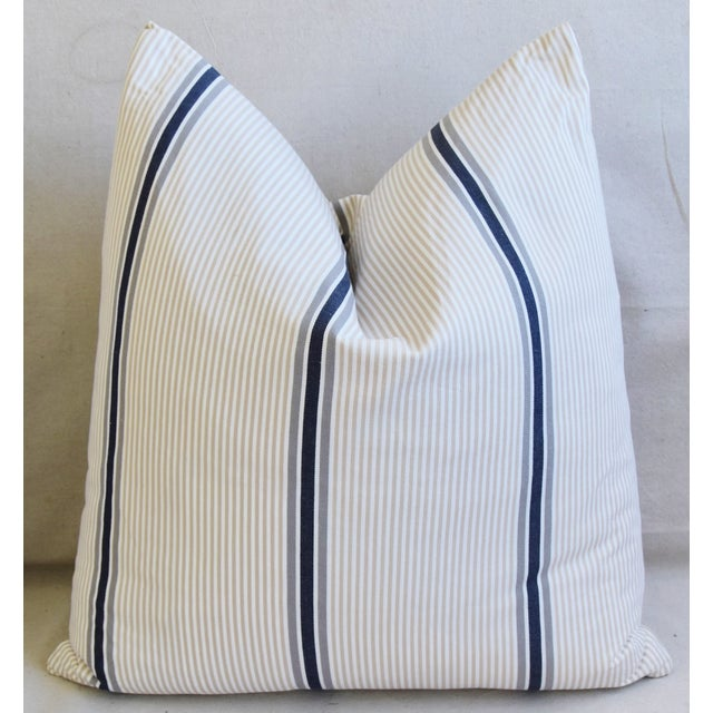 """Late 20th Century French Blue/Gray/Tan/White Striped Ticking Feather/Down Pillows 23"""" Square - Pair For Sale - Image 5 of 12"""