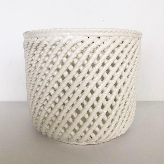 Vintage white ceramic lattice flower pot. Intricate twisted lattice design. Such a pretty, delicate piece.