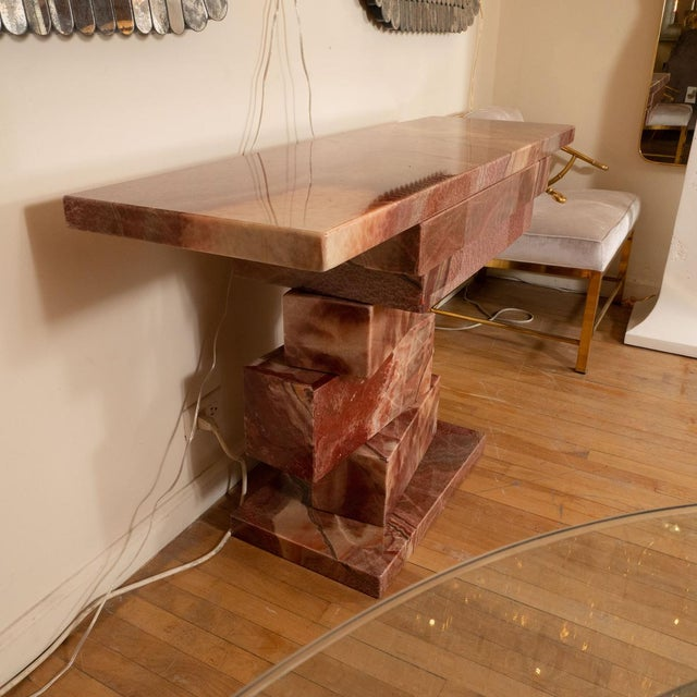 Mid-Century Modern 1960s Stacked Marble Console Table For Sale - Image 3 of 5